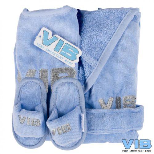 Giftset VIB blauw met slabber slofjes en badjasje