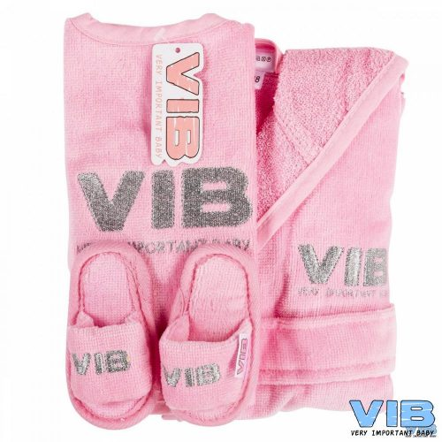 Giftset VIB roze met slabber slofjes en badjasje