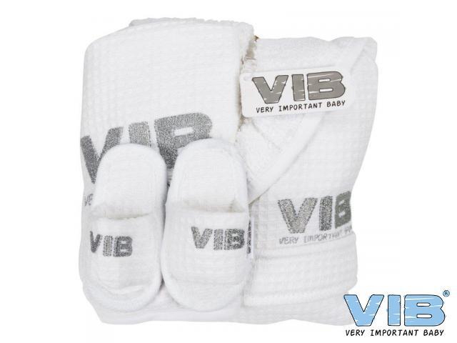 Giftset VIB wit met slabber slofjes en badjasje