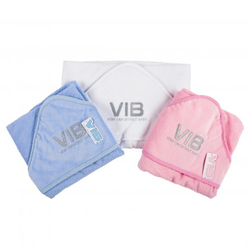 Baby badcape VIB in wit blauw grijs of roze