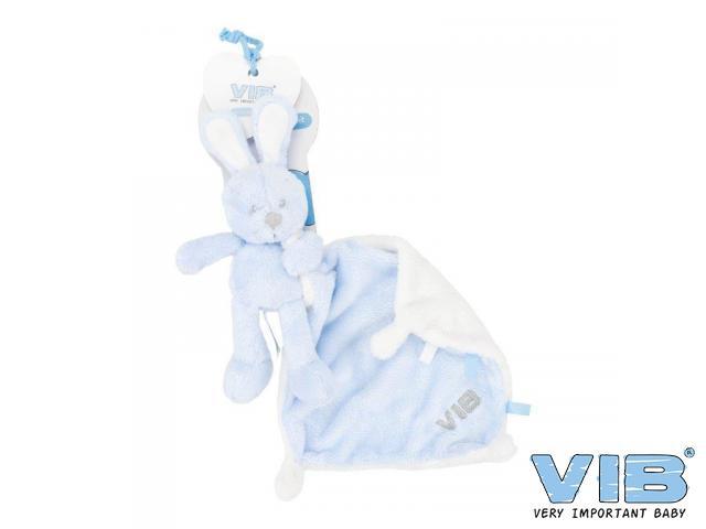 Baby knuffeldoekje VIB konijn blauw roze of wit