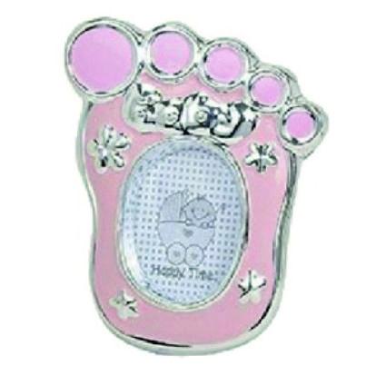 Kraamcadeau fotolijstje voet roze voor een meisje