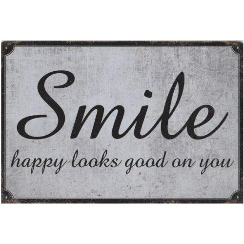 Metalen tekstbord Smile happy looks good on you