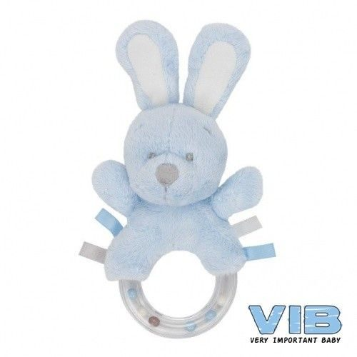 Pluche baby rammelaar blauw van VIB