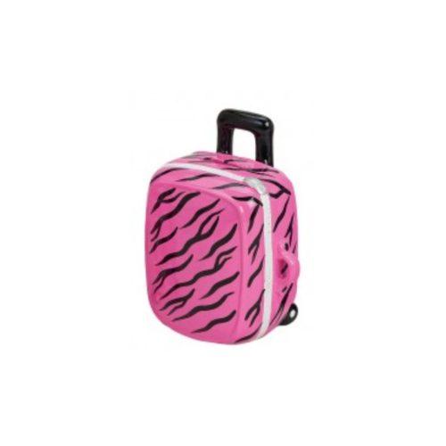 Spaarpot vakantie trolly roze met zwarte streepjes