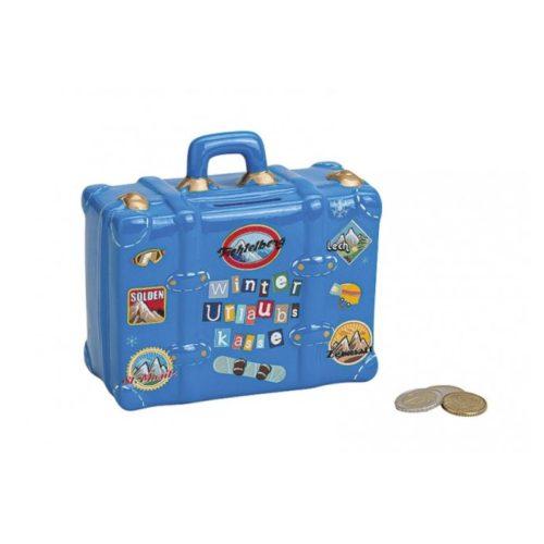 Spaarpot wintersport koffer blauw