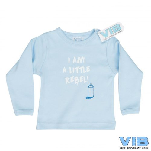 T-shirt baby VIB I am a little rebel blauw