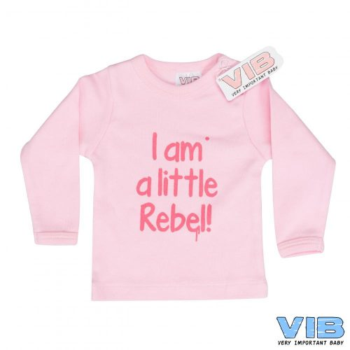 T-shirt baby VIB I am a little rebel roze