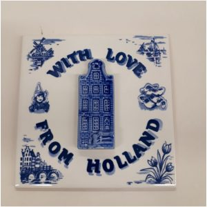 3D Delfts blauwe tegel met Hollands gevel huisje