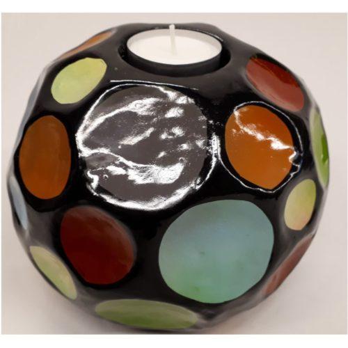 Fairtrade sfeerlichthouder Sadee zwart met multicolor stippen