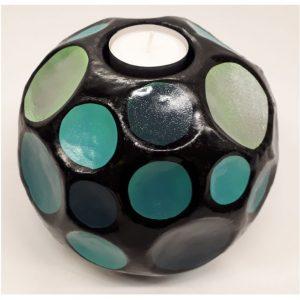 Fairtrade sfeerlichthouder Sadee zwart met turquoise blauwe tinten