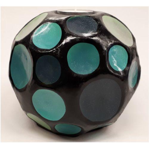 Fairtrade sfeerlichthouder Sadee zwart met turquise blauwe tinten 2