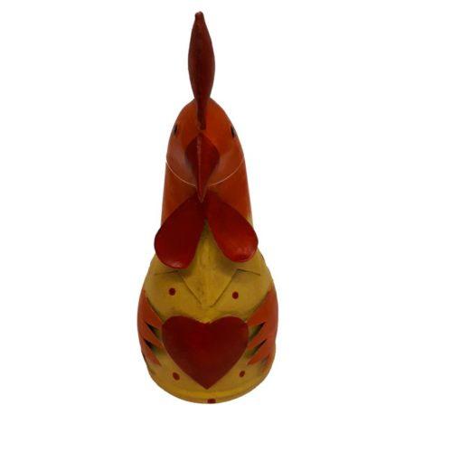 Metalen beeldje kip met hart rood oranje handmade by Varios