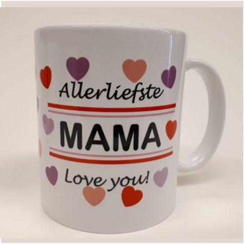 Witte mok met hartjes Allerliefste mama love you