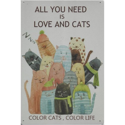 Tekstbord al you need is love and cats