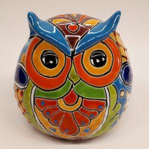 Fairtrade en handmade beeldje uil van Mexicaans keramiek lichtblauwe wenkbrauwen