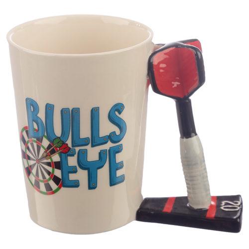 Mok darts bulls eye met dartpijl als oor