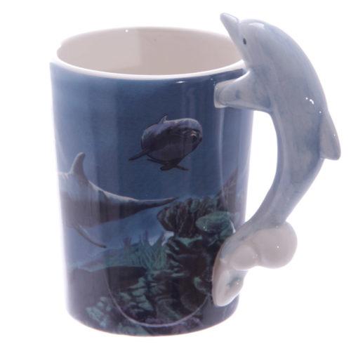 Mok dolfijnen met dolfijn als handvat