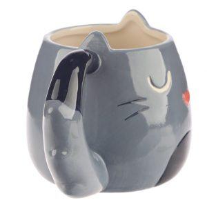 Mok kat met staart als handvat in grijs