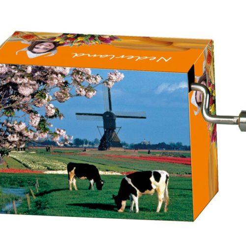 Muziekdoosje Holland molen en koeien Melodie Love Story