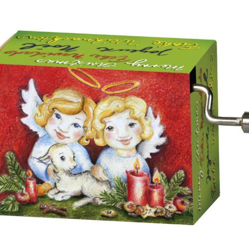 Muziekdoosje kerst engelen met melodie Merry Christmas