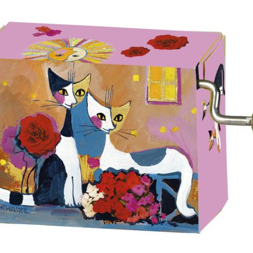 Muziekdoosje kunstenaars Rosita Wachtmeister 2 katten met bloem - happy birthday