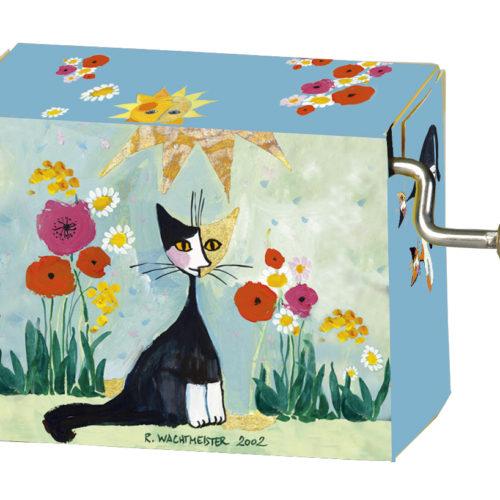 Muziekdoosje kunstenaars wachtmeister kat met bloemen melodie Happy Birthday
