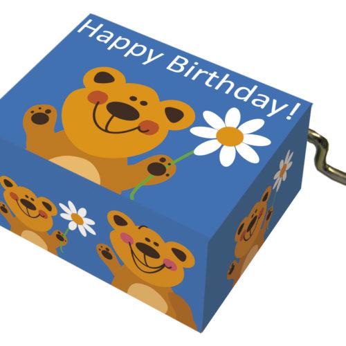 Muziekdoosje verjaardag blauw met beer en melodie Happy Birthday