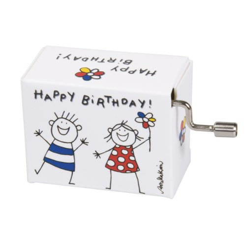 Muziekdoosje verjaardag blije kinderen 1 met melodie Happy Birthday