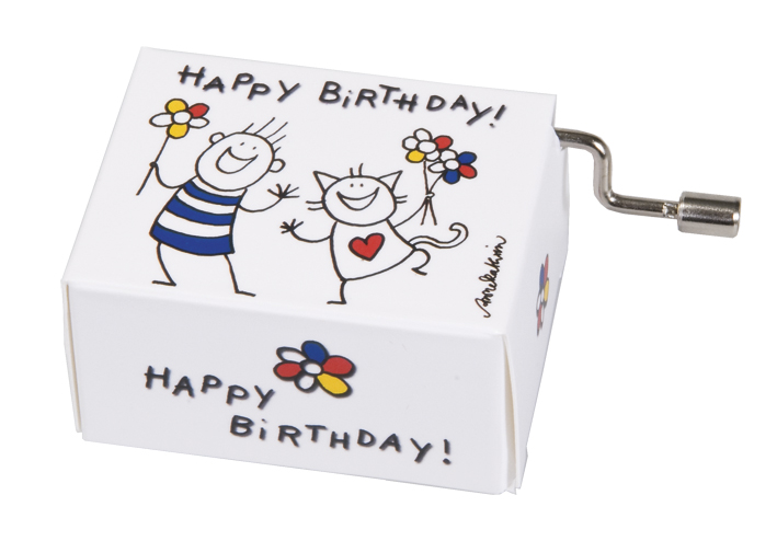 Muziekdoosje verjaardag blije kinderen 2 met melodie Happy Birthday
