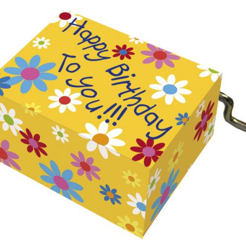 Muziekdoosje verjaardag geel met bloemen en melodie Happy Birthday