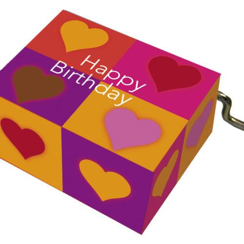 Muziekdoosje verjaardag hartjes in vierkantjes en melodie Happy Birthday