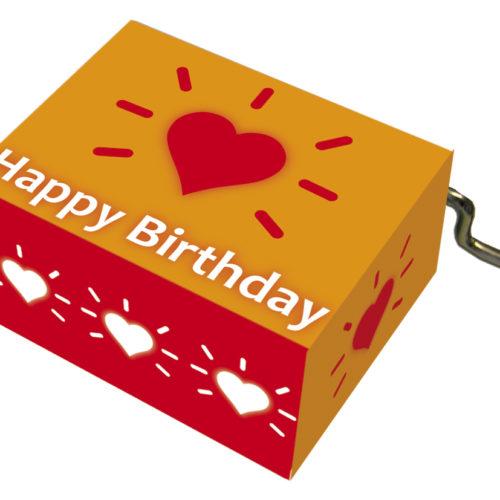 Muziekdoosje verjaardag hartjes rood oranje en melodie Happy Birthday