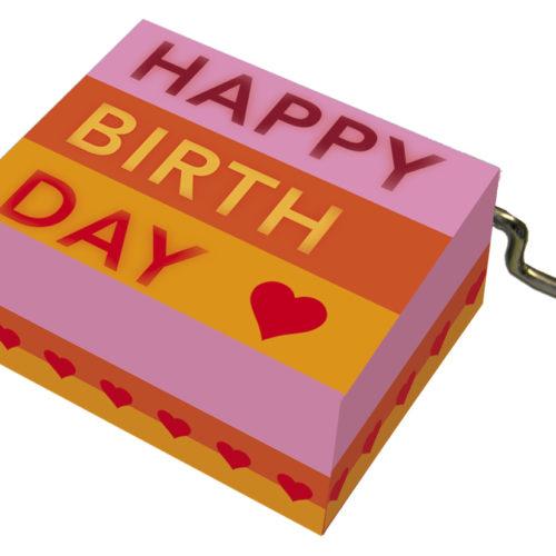 Muziekdoosje verjaardag roze oranje gestreept en melodie Happy Birthday