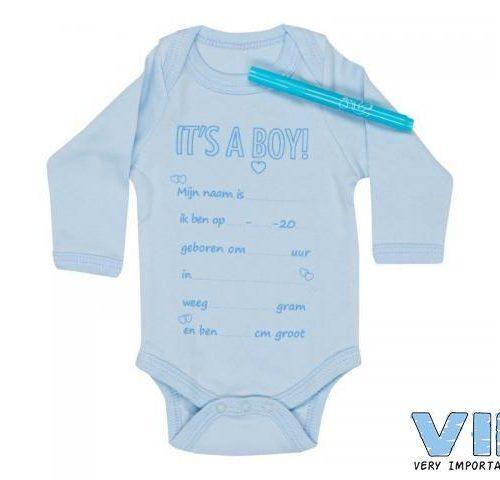 Romper met textielmarker blauw boy van VIB
