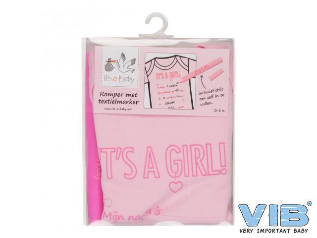 Romper met textielmarker roze girl van VIB