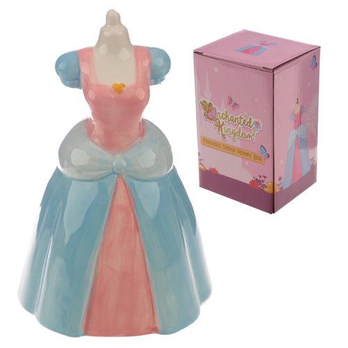 Spaarpot prinsessen jurk in roze en blauw