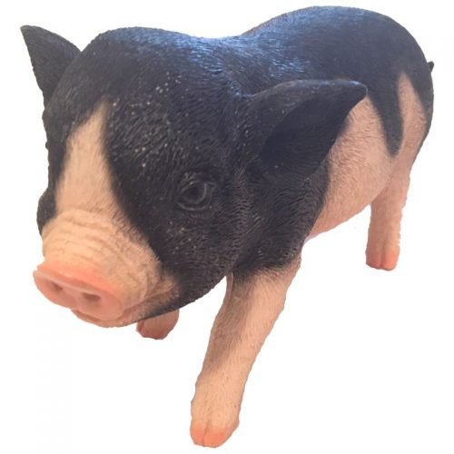 Beeldje varken levensecht met grote zwarte vlekken