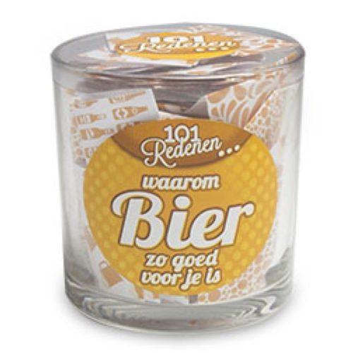 Glazen potje met 101 redenen waarom bier zo goed voor je is