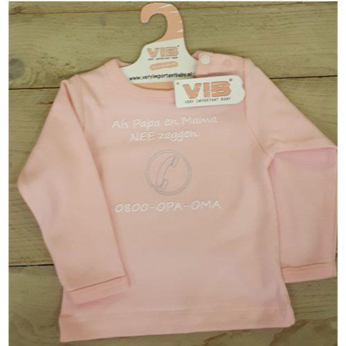 Roze T-shirt lange mouw bel opa en oma Very Important Baby
