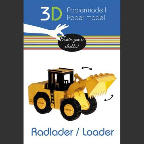 3D bouwpakket karton graafmachine wiellader