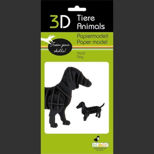 3D puzzel en bouwpakket karton model hond teckel