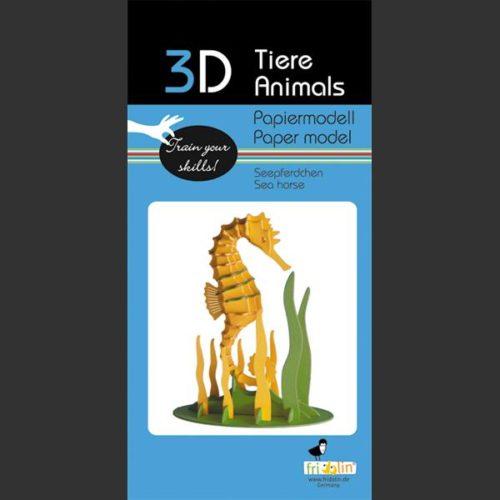 3D puzzel en bouwpakket karton model zeepaardje