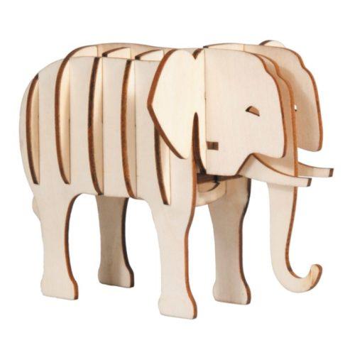 3D puzzel olifant van hout
