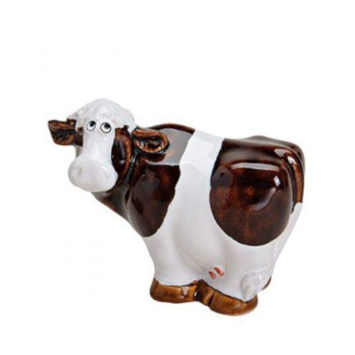 Beeldje koe van keramiek in donker bruin