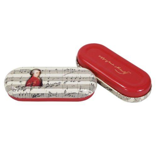 Brillenkoker Componist mozart met print van bladmuziek