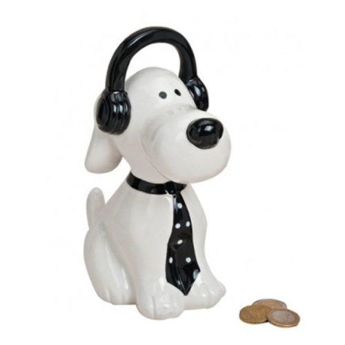 Spaarpot hond wit met koptelefoon