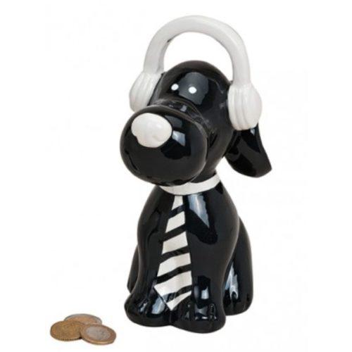 Spaarpot hond zwat met koptelefoon