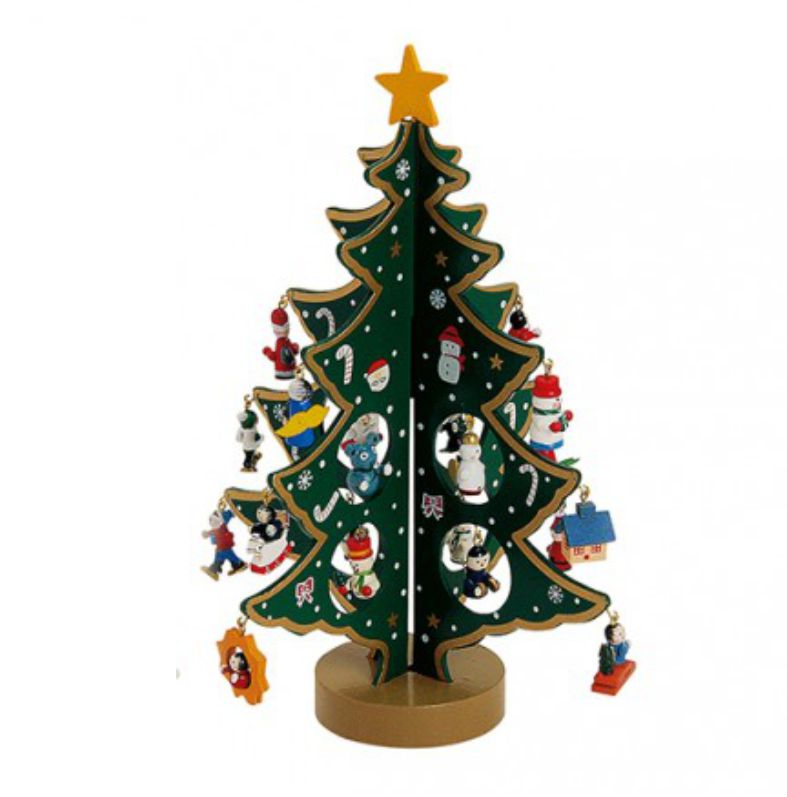 Houten kerstboom groen met diverse leuke hangers