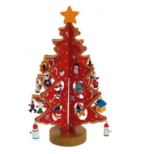 Houten kerstboom rood met diverse leuke hangers